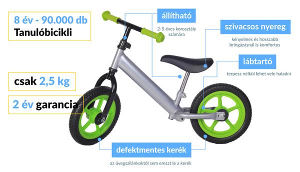 Tanulóbicikli - Ezüst - Zöld - szaküzlet - tanulobicikli.hu Kft. 4459a4c1cf